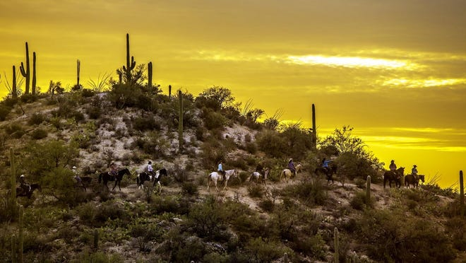 Unplugging and experiencing the world of stunning sunsets and sunrises is easy at Tanque Verde Ranch.
