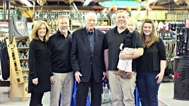 Four generations at Don's Store in Lewistown:  Wendy and Dale Pfau, Don Pfau, Charlie and Jennnifer Pfau, and Carter.
