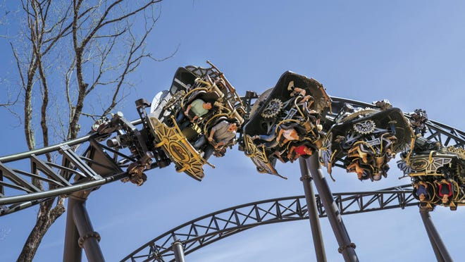 This image provided by Silver Dollar City shows the Time Traveler, a ride at the theme park in Branson.