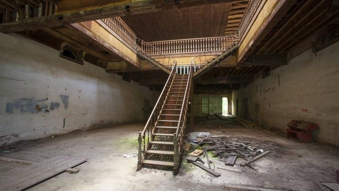 This undated photo by Jamie DeRevere shows the metal staircase inside the former AJ Gillen Department Store in Maxeys, Georgia.