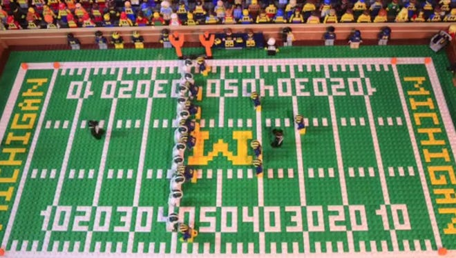 A screengrab from the U-M vs. MSU game at the Big House in 2015, in LEGO form.