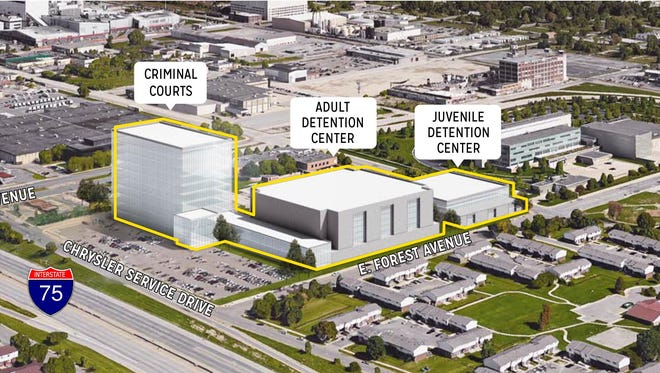 Rendering of proposal for new jail site.