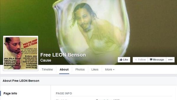 Screenshot photo of the Free Leon Benson Facebook page, which was created to advocate for Benson's release from prison.