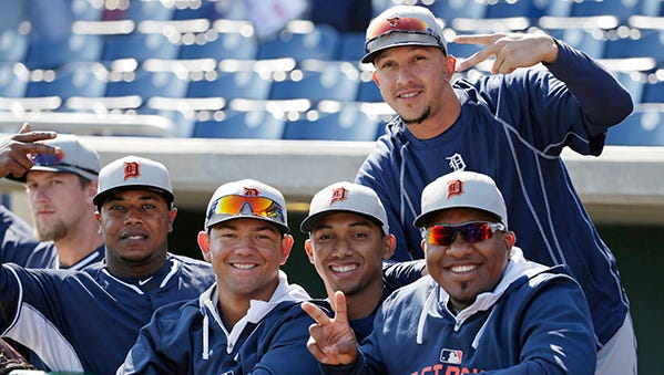 Tigers players pose for a photo taken by their teammate before Sunday's game against the Phillies in Clearwater, Florida.