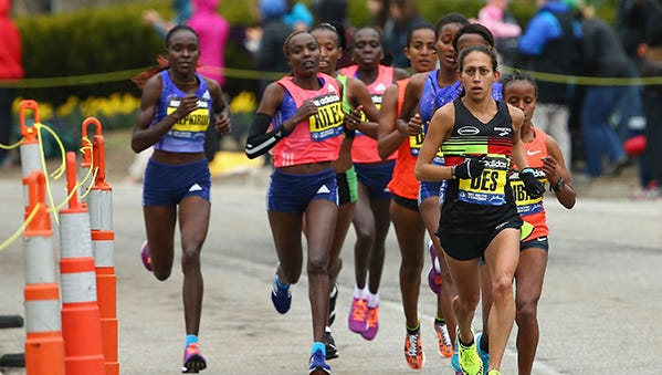 Desiree Linden is in front of the lead pack at the Boston Marathon on Monday.