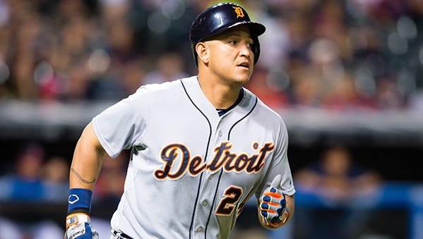 Miguel Cabrera heads to first on a single against the Indians on Tuesday night.