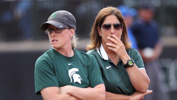 MSU softball coach Jacquie Joseph, right, and assistant Jessica (Beech) Bograkos.
