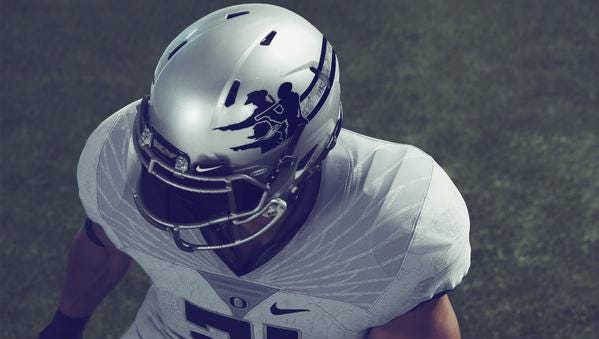 "The Ducks' new ""Oregon Pioneers"" uniform."