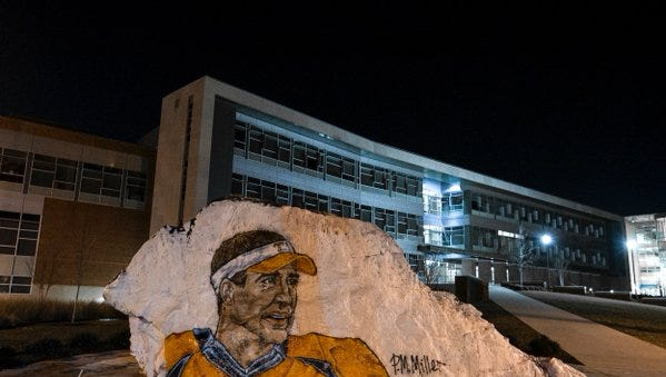 A Tennessee student painted Peyton Manning onto a campus landmark following the Broncos' win in the Super Bowl.
