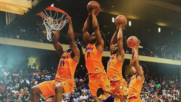 Former Clinton prep and University of Mary (N.D.) senior Devan Douglas makes a dunk in a composite image from last week's College Slam Dunk & 3-Point Championships in Cypress, Texas.
