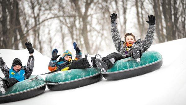 Sylvan Hill Park features six tubing chutes for family fun.