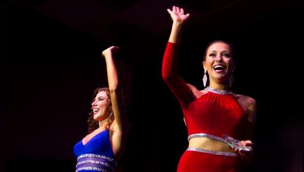 Miss Green Bay Area Katrina Mazier, left, wins Thursday's preliminary lifestyle and fitness award and Miss Kenosha Maria Salerno win the talent award of the Miss Wisconsin Scholarship Pageant at the Alberta Kimball Auditorium on June 14, 2018.