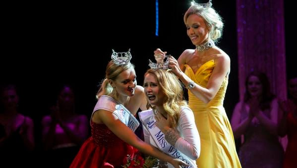 Miss Wood Violet Tianna Vanderhei wins the Miss Wisconsin title during the scholarship pageant held at the Alberta Kimball Auditorium on June 16, 2018.