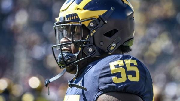 Converted defensive lineman James Hudson is among the improvements along the offensive line for Michigan.