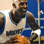 Minnesota Timberwolves forward Kevin Garnett poses for a photo during media day Monday.