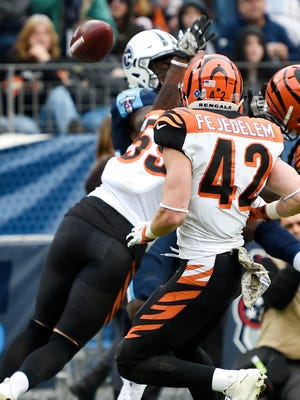 Titans receiver Corey Davis fumbles through the end zone, resulting in a touchback for the Bengals in the second half Sunday.