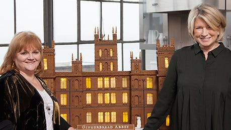 """Martha Stewart and her team collaborated to create """"Gingerbread Abbey,"""" a gingerbread house that looks just like the Grantham family home featured on the PBS series 'Downton Abbey.'"""