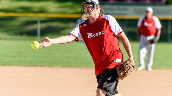 Mike Sarrazin, 64, pitches during a Columbia Parks and Recreation over-50 softball game Tuesday at Rainbow Softball Center.