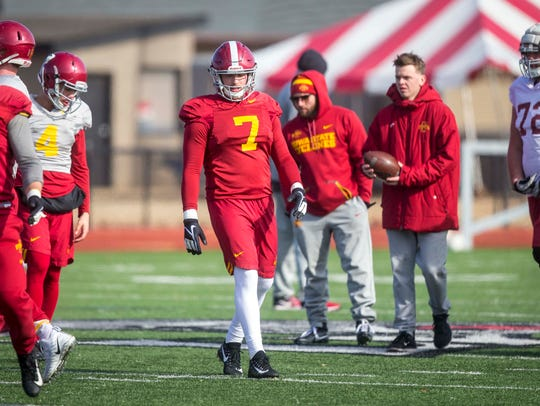 Iowa State's Joel Lanning practices at Rhodes College