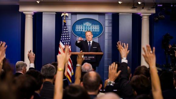 White House Press Secretary Sean Spicer takes questions