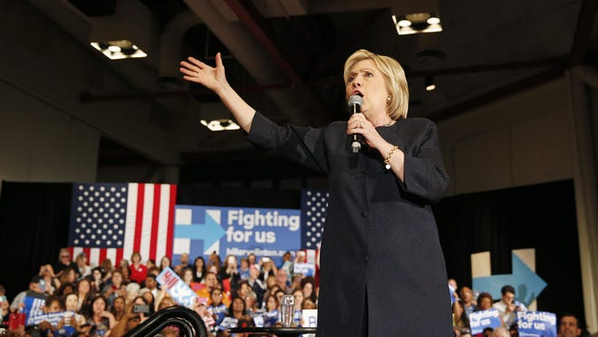 John Locher/APDemocratic presidential candidate Hillary Clinton speaks at a rally Thursday. Democratic presidential candidate Hillary Clinton speaks at a rally, Thursday, May 26, 2016, in San Jose, Calif. (AP Photo/John Locher)