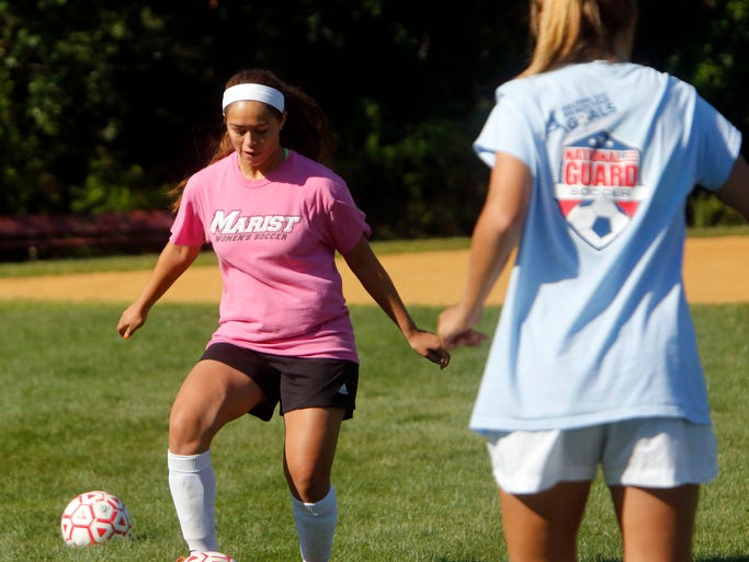 Junior Amber Alfonzo runs drills during soccer practice at North Rockland High School, Aug. 19, 2014 in Thiells.