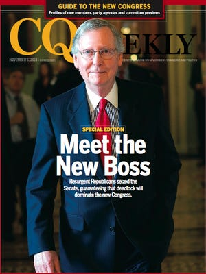 Sen. Mitch McConnell on the cover of CQ Weekly.