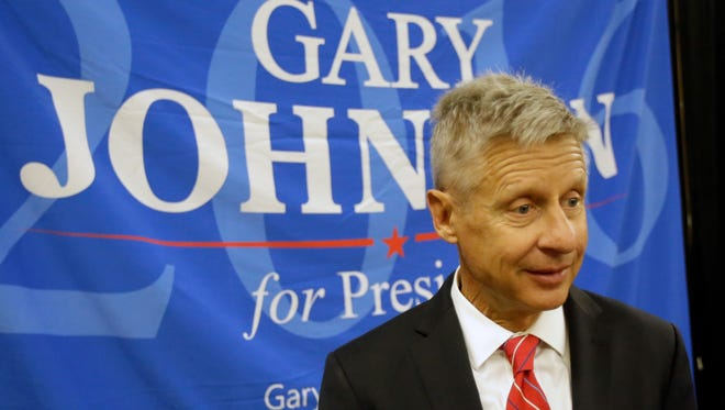 Libertarian Party presidential candidate Gary Johnson speaks to supporters and delegates May 27, 2016, at the National Libertarian Party Convention in Orlando, Fla.