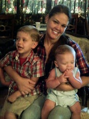 Autumn Steele, with with her children Kai and Gunner,