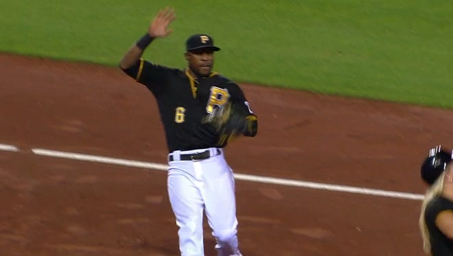 Starling Marte had to avoid a collision with a ball girl.