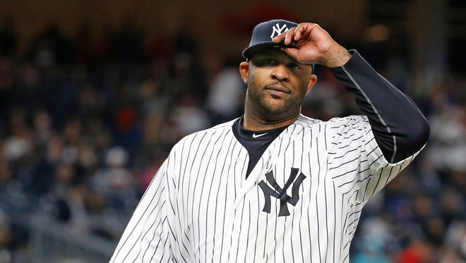 New York Yankees starting pitcher CC Sabathia leaves the field in the eighth inning of a baseball game against the Boston Red Sox in New York, Thursday, Sept. 29, 2016.