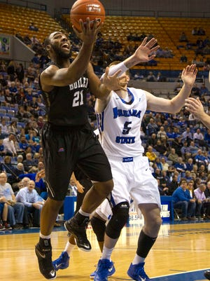 Dec 3, 2014; Terre Haute, IN, USA; Butler Bulldogs forward Roosevelt Jones (21) shoots the ball in the first half of the game against the Indiana State Sycamores at Hulman Center. Mandatory Credit: Trevor Ruszkowski-USA TODAY Sports