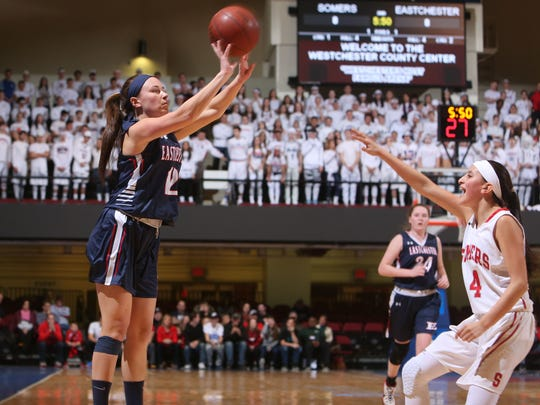 Somers defeated Eastchester 49-48 to win the  Section 1 Class A championship game at the Westchester County Center in White Plains March 5, 2017.