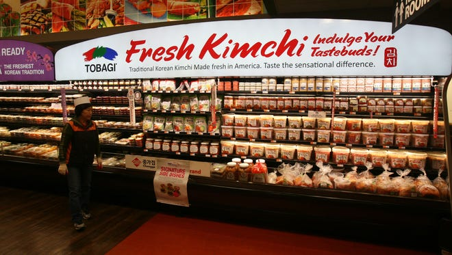 The fresh kimchi section in the H-Mart international grocery store on North Central Avenue in Hartsdale, August 9, 2012.