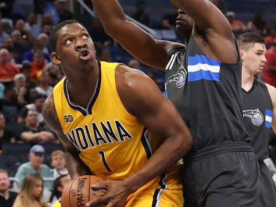 Indiana Pacers center Kevin Seraphin (1) looks to shoot