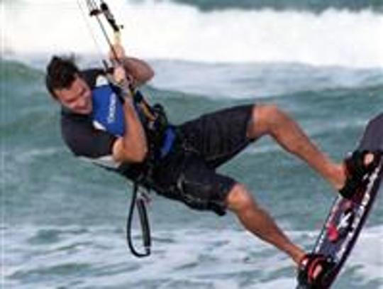 Stephen Schafer kiteboarding.