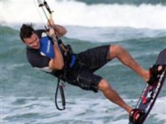 Stephen Schafer kiteboarding.