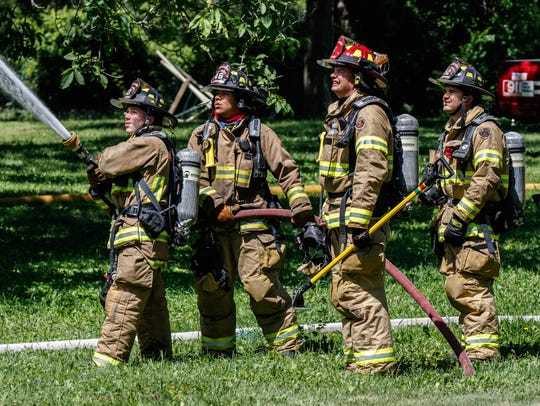 Waterford firefighters take part in a live fire training