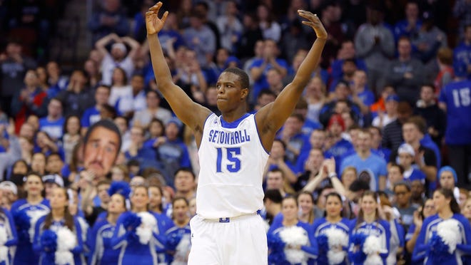 Jan 31, 2015; Newark, NJ, USA; Seton Hall Pirates guard Isaiah Whitehead (15) returns from injury to lead the Pirates over Xavier Musketeers at the Prudential Center. Seton Hall Pirates defeated the Xavier Musketeers 90-82. Mandatory Credit: Jim O'Connor-USA TODAY Sports
