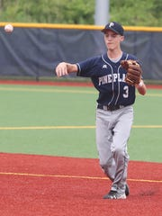 Pine Plains' Adam Funk makes a throw to first base during a Class C regional semifinal baseball game against Tuckahoe last month.