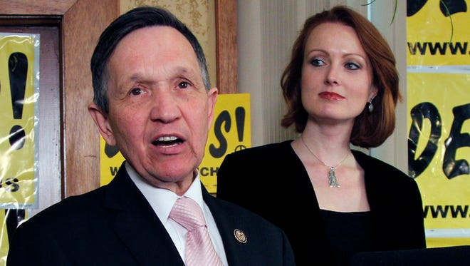 With his wife Elizabeth at his side, U.S. Rep. Dennis Kucinich of Cleveland addresses supporters at Rubin's Restaurant and Deli in Cleveland, Ohio, as the votes are tallied in his race against U.S. Rep. Marcy Kaptur of Toledo Tuesday night, March 6, 2012.  Kucinich was defeated by Kaptur in the Ohio congressional Democratic primary faceoff. (AP Photo/Amy Sancetta)