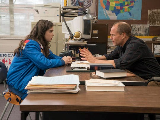 "This image released by STX Films shows Hailee Steinfeld, left, and Woody Harrelson in a scene from ""The Edge of Seventeen."""