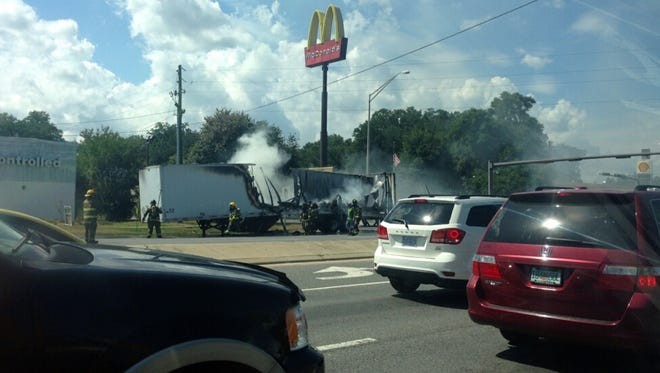 A tractor trailer was destroyed after catching fire on Davis Highway just north of Interstate 10 on Wednesday afternoon. Fire crews quickly responded and put out the flames.
