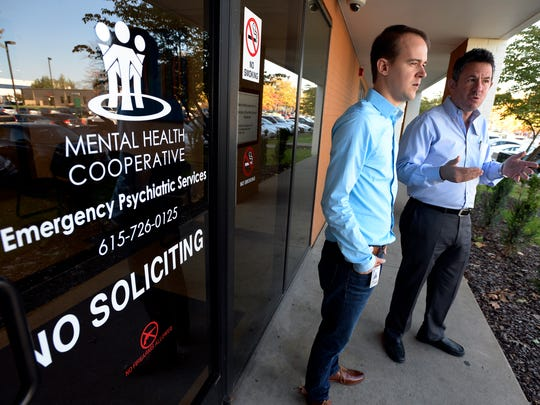 "Supervisor Jacob Henry, left, and vice president Michael Kirshner talk about the Mental Health Cooperative on Tuesday, Oct. 24, 2017, in Nashville Tenn. The cooperative is in a partnership with the Nashville health department and Nashville police department. The cooperative built a ""psychiatric emergency room"" to reduce the number of people who end up in jail when they have a mental health crisis and are not breaking the law. Before the Crisis Stabilization Unit was created, police would have to spend a lot of time waiting for someone to have an assessment. Now police can quickly check a person into the unit and be back patrolling the streets within 10 minutes."