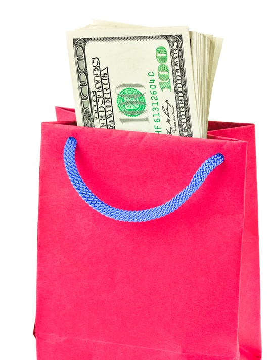 Shopping bag with money