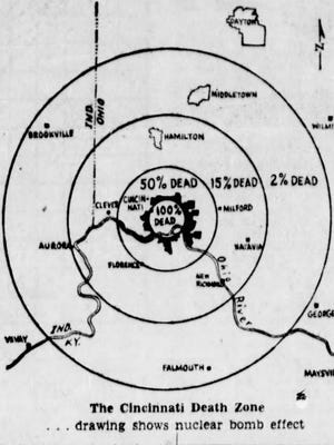 """""""The Cincinnati Death Zone"""" map published in the Cincinnati Enquirer on Oct. 2, 1961 showed the percentage of how many people would die if a nuclear bomb struck Cincinnati."""