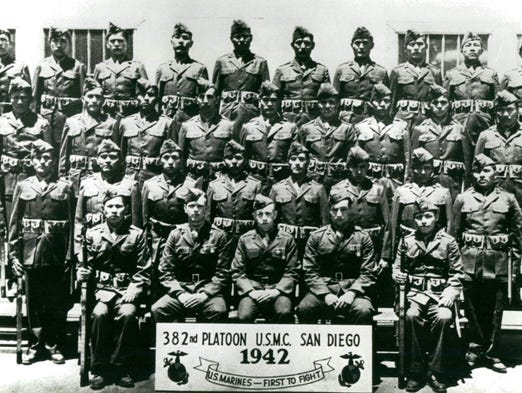 The 382nd Marine Platoon was made up of the original Navajo Code Talkers. Chester Nez (second row from the bottom, on far left) was the last surviving member of this first group.