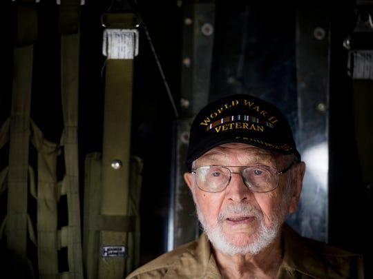 World War II veteran Jules Bernard sits inside the Aluminum Overcast, one of the few airworthy B-17s in the world, on June 21.