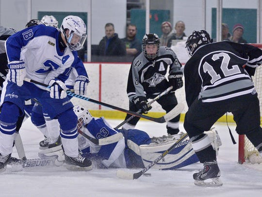Scoring late in the third period Friday is Plymouth's