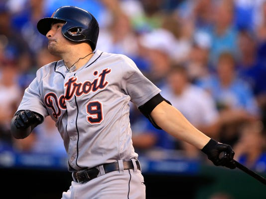 Detroit Tigers' Nick Castellanos hits a solo home run off Kansas City Royals starting pitcher Danny Duffy during the fourth inning a baseball game at Kauffman Stadium in Kansas City, Mo., Thursday, June 16, 2016. (AP Photo/Orlin Wagner)